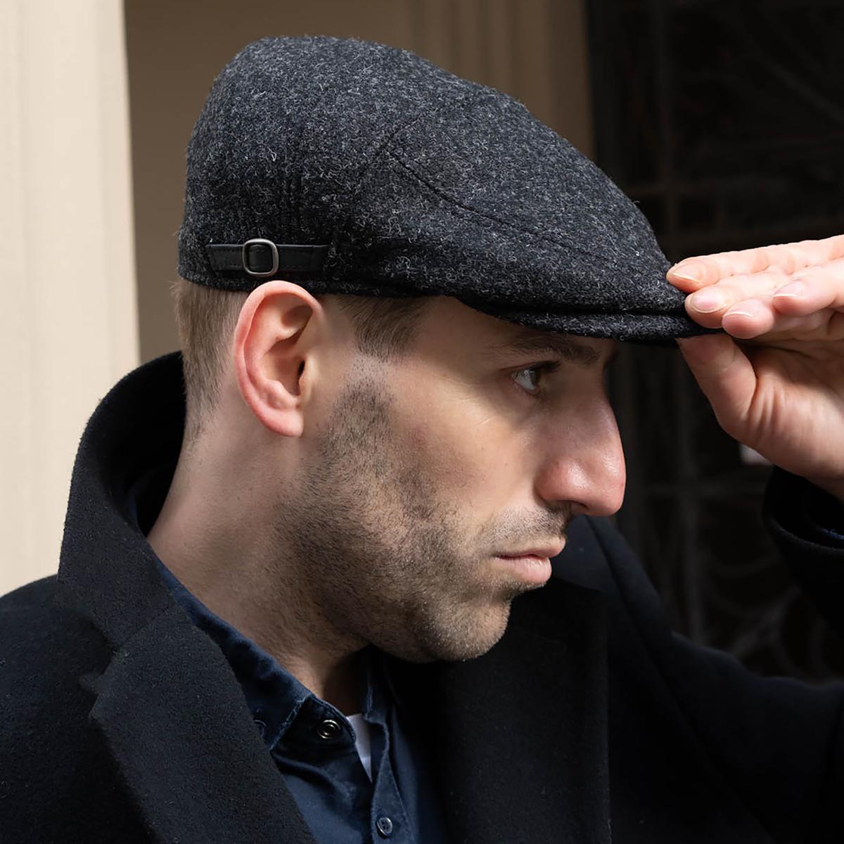 harris tweed schiebermütze, trendige mützen, große mütze.