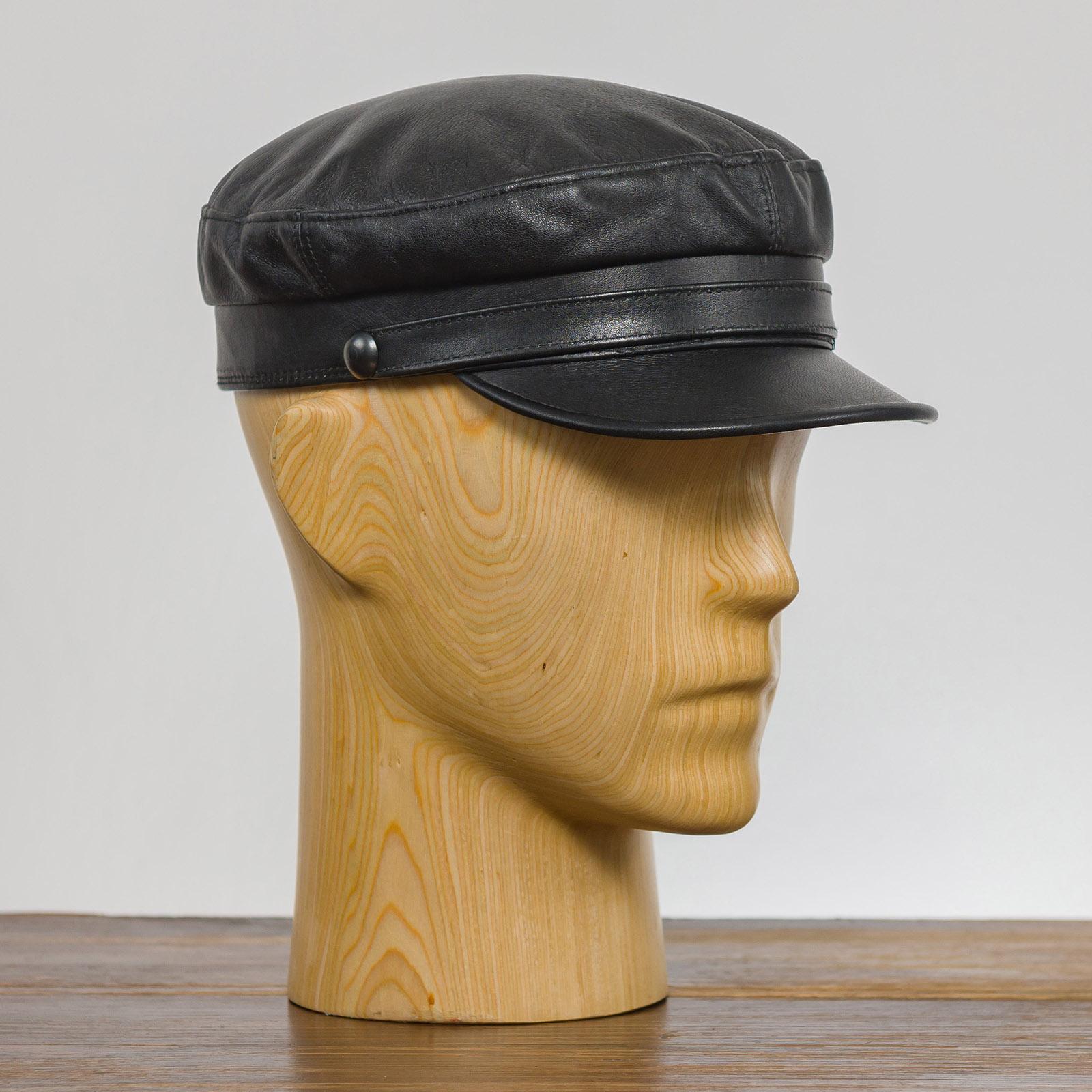 Trawler - mütze mit schirm, echtes Leder, männer mütze, frauen mütze