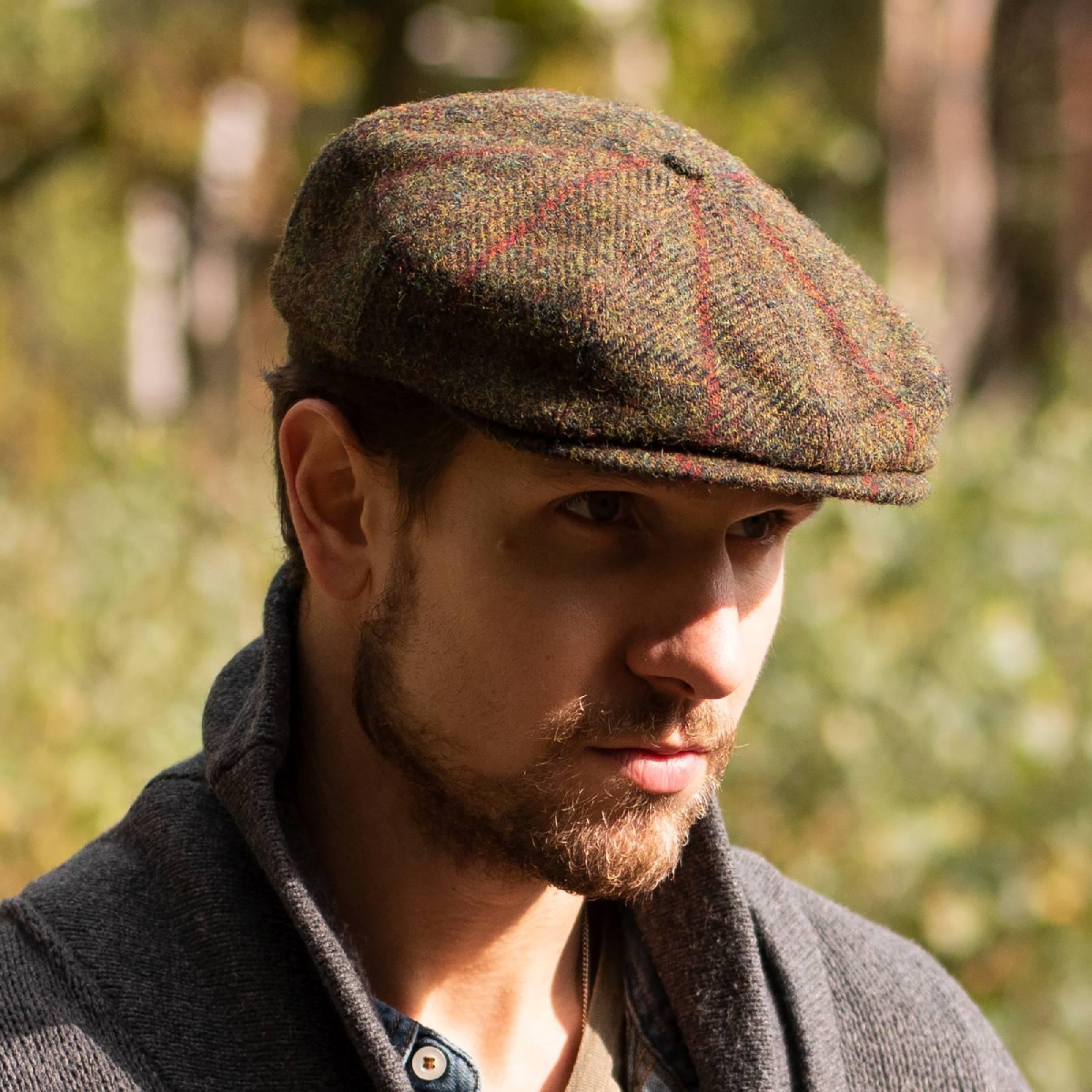 Shelby - wintermütze Harris Tweed, mütze männer, blau, khaki mütze
