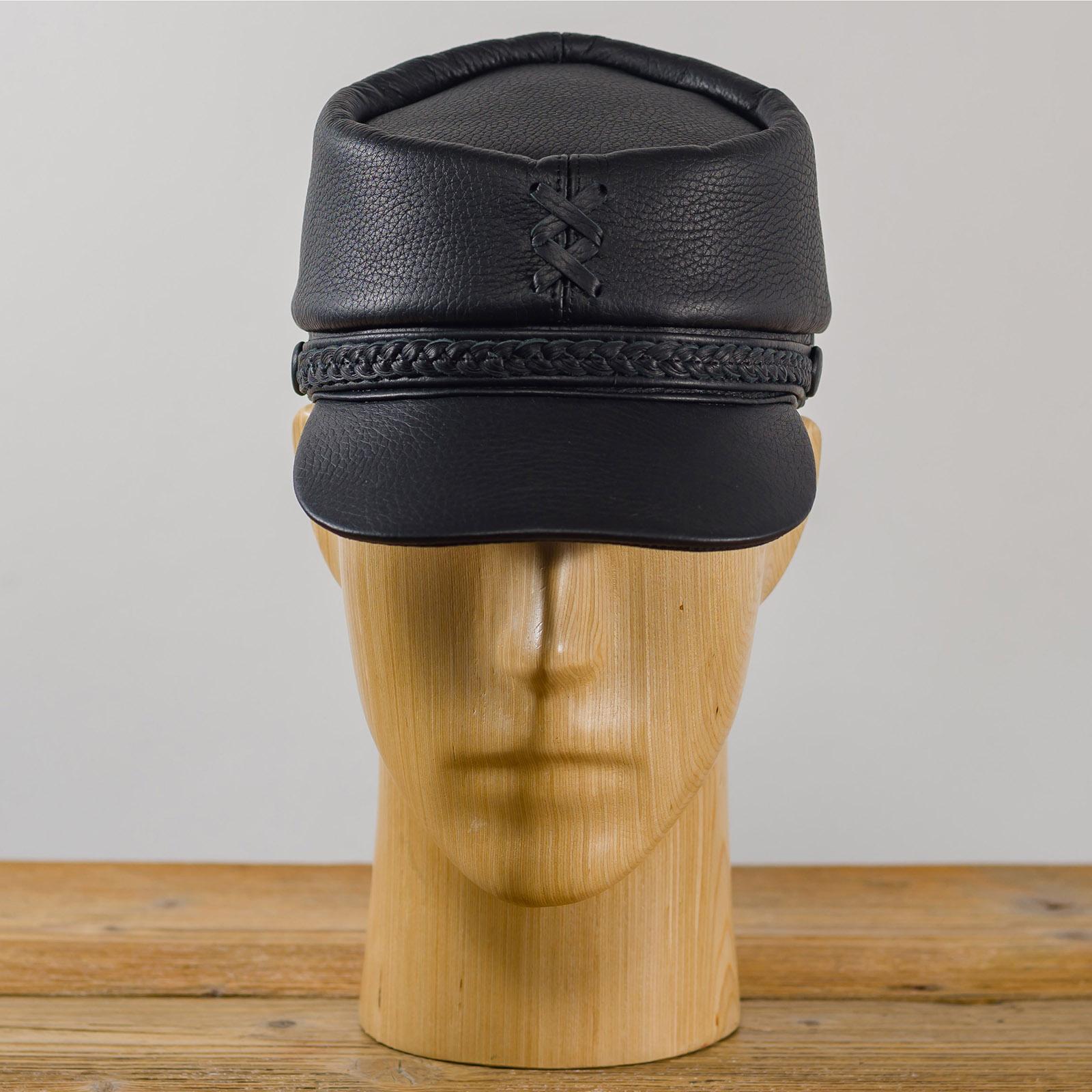 Patriot - Mütze Männer replik Kappi mit schirm, schwarz ledermütze